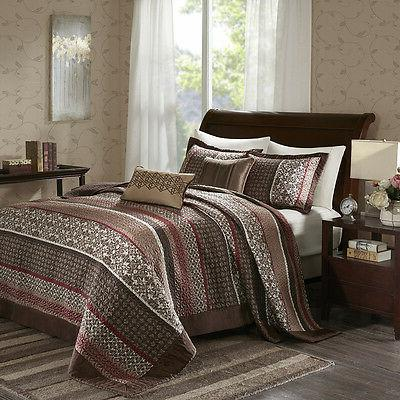 BEAUTIFUL XXL MODERN RED BROWN TAUPE CABIN LODGE COZY QUILT