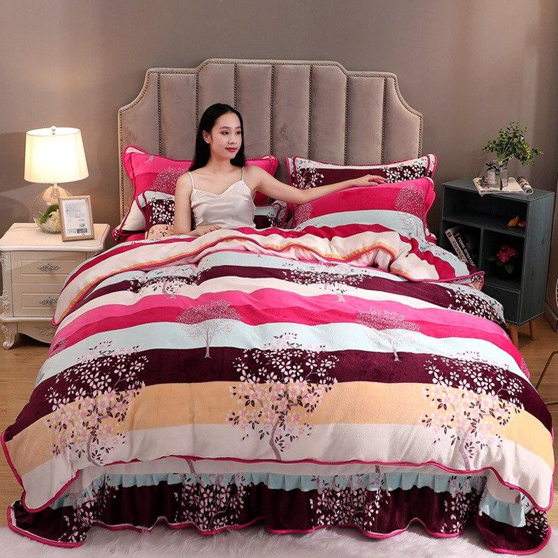 High Quality Velvet Flower Bed Skirt Pillowcase <font><b>Set</b></font>