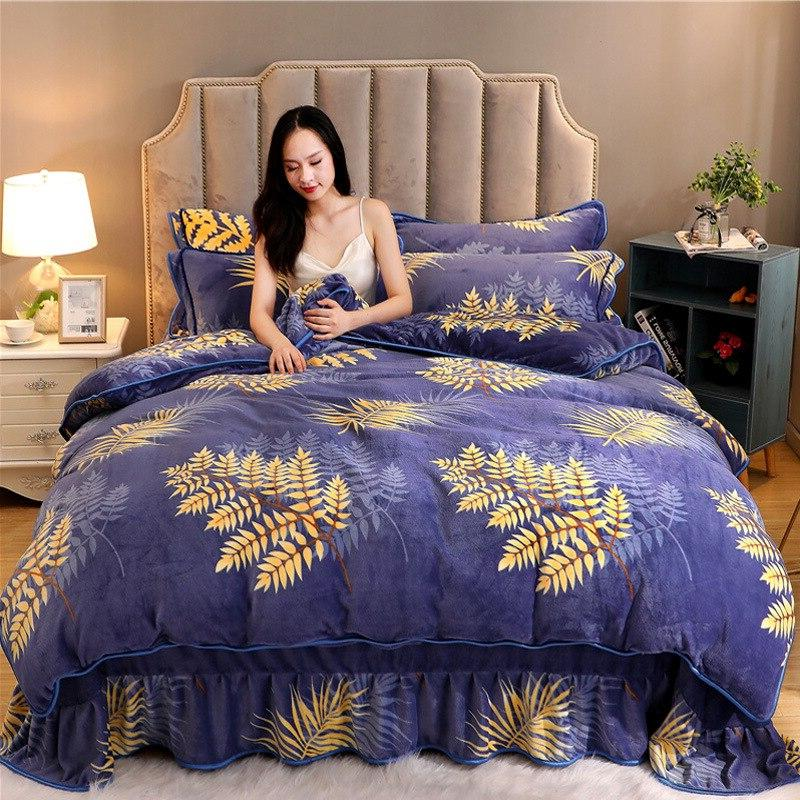 DIGYHOME Bed Linen High Quality Fleece Velvet Flower Stripe Bed Pillowcase 4pcs