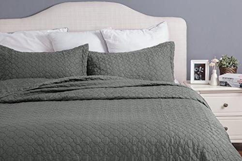 King size Grey 106x96 Quatrefoil Pattern