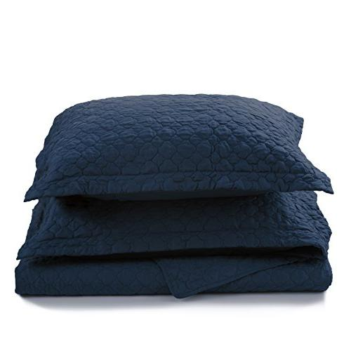 Bedsure Queen/Full Navy Blue 86x96 Quatrefoil Design