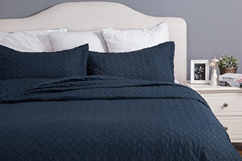 Bedsure Quilt Queen/Full Navy Blue 86x96 Design
