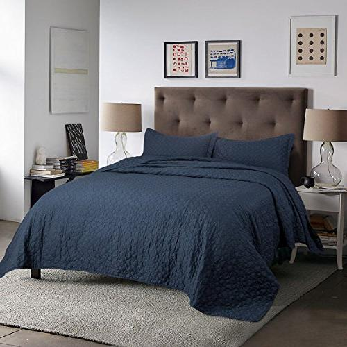 Bedsure Quilt Queen/Full Navy 86x96 Design