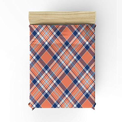 Cloud Piece Bedding Plaid Stripes Checks Duvet Cover Set Bedspread for Blue White Size