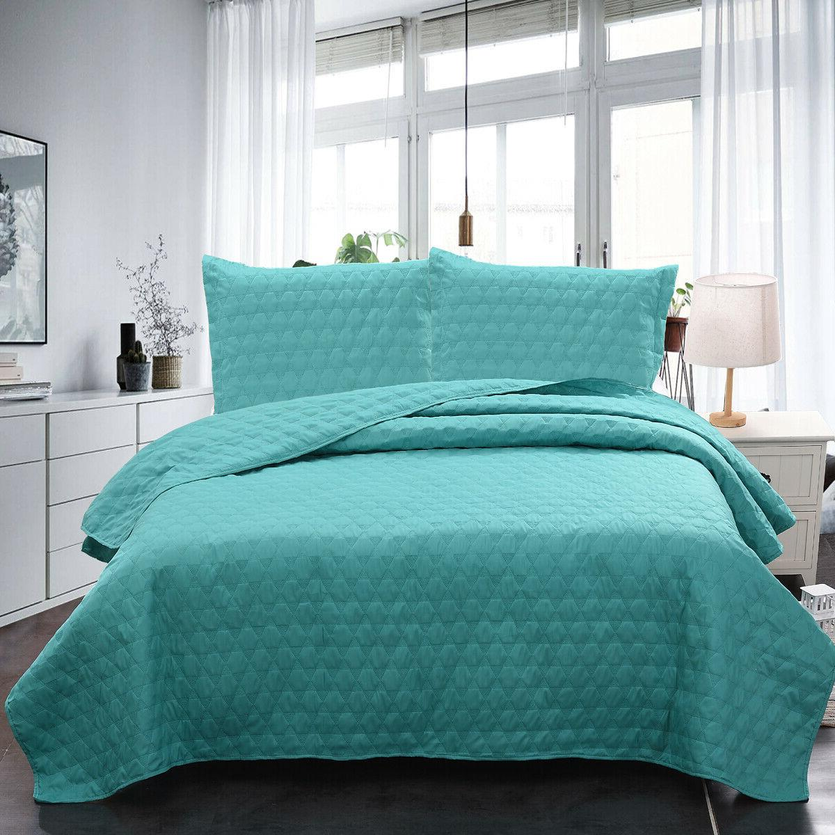 Bedspread Comforter Bedding Cover 3-Piece Quilt Set Modern