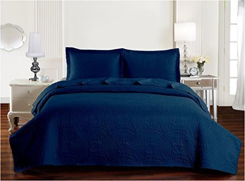Mellanni Bedspread Navy - QUALITY Comforter 3-Piece Quilt Set
