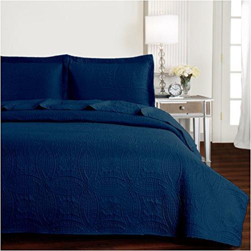 bedspread coverlet set navy