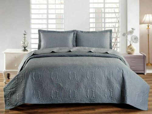 Mellanni 3-Piece Oversized Bed Cover, Ultrasonic Quilt