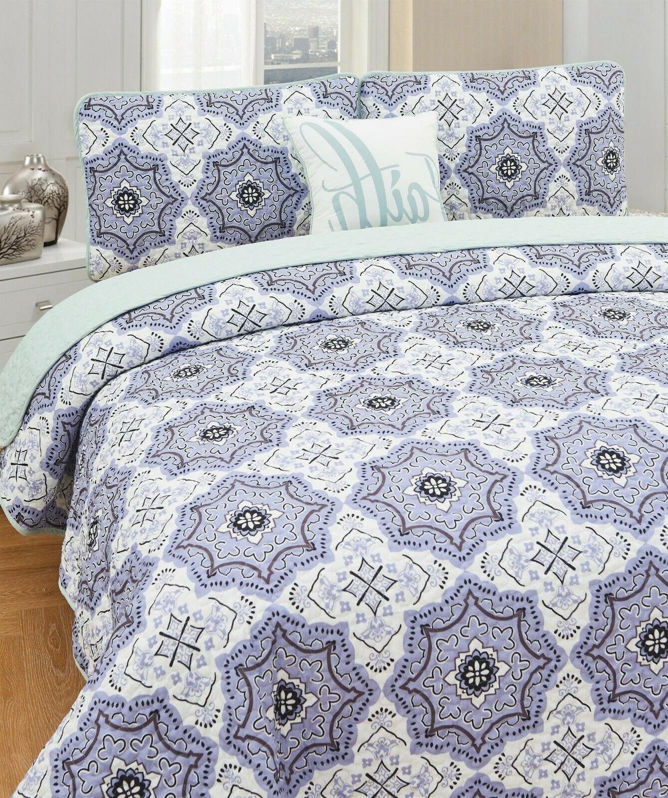 4 Quilted Set Printed Pattern King Queen Pillows Shams