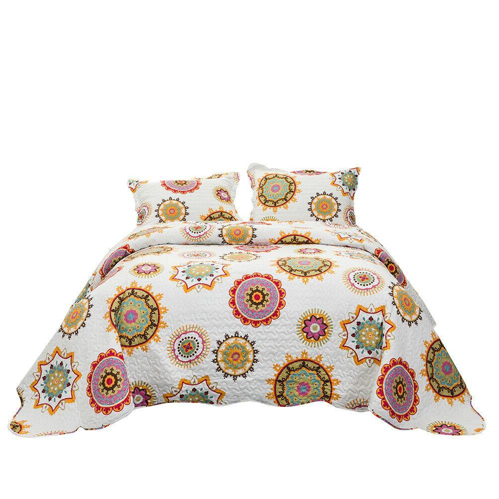Bedspread Coverlet Set Printed Comforter Microfiber Full Que
