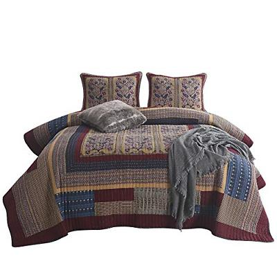 NEWLAKE Bedspread Quilt Set with Real Stitched Embroidery, L