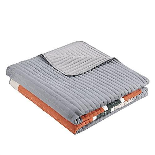Bedspreads Mini Quilt Casual Pierre 2 Kids Cover Orange Patchwork All Season Hypoallergenic Fits Twin/Twin - Comfort