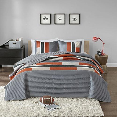 Bedspreads Mini - Casual Pierre 2 Kids Cover Gray / Orange Print All Season Hypoallergenic - Fits Comfort Spaces