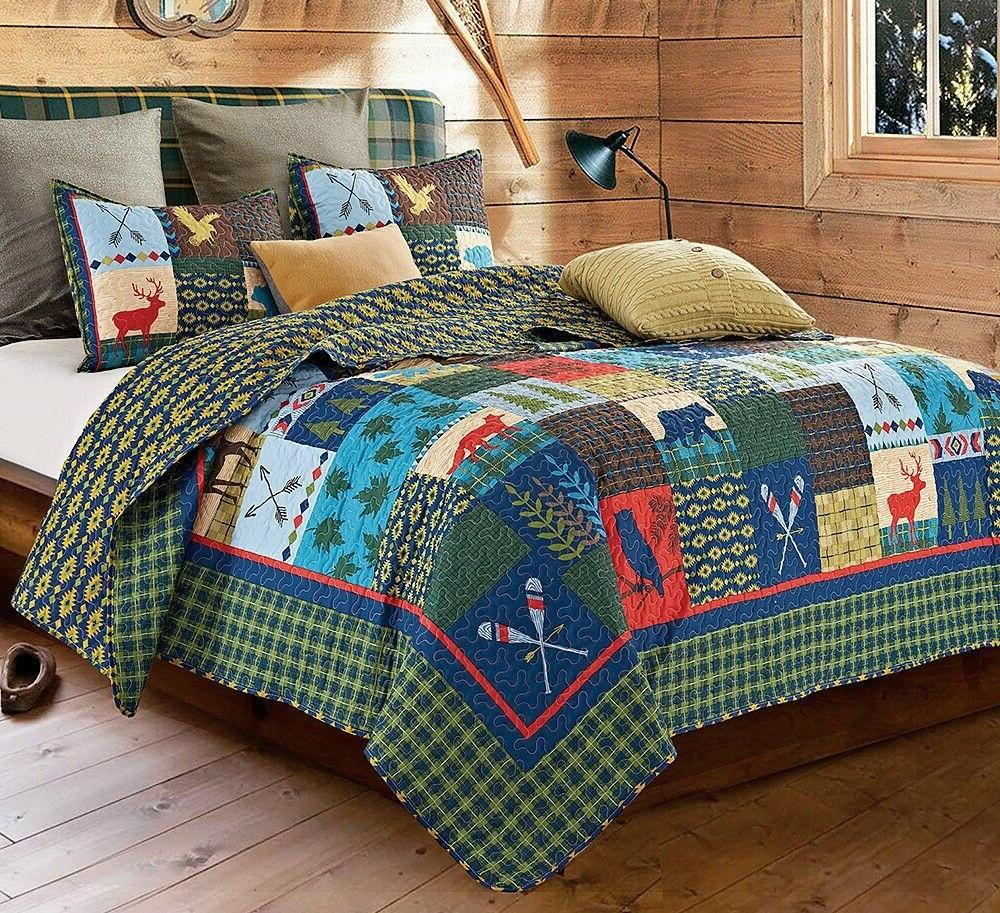 BIG LAKE HOUSE Full Queen QUILT SET : CABIN LODGE MOUNTAIN B