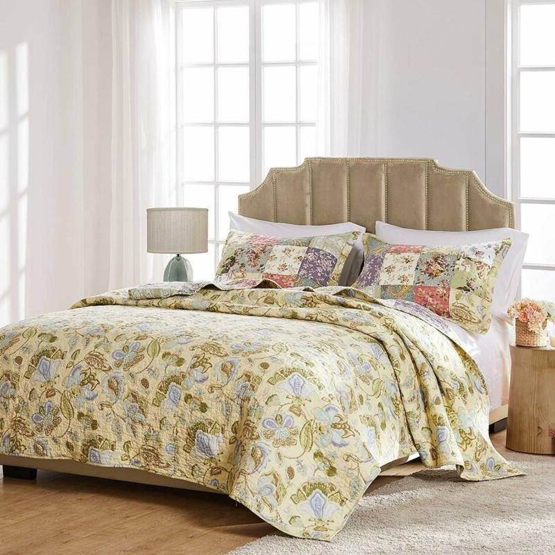 Greenland Home Blooming 100% Authentic Patchwork Quilt Set, 3-Pie
