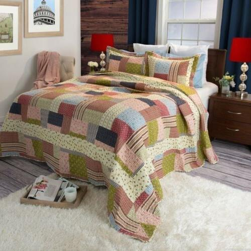 blue green pink patchwork 3 pc quilt