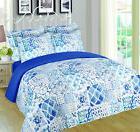 Blue White 6 Piece Floral Reversible Print Quilt Bedspread S