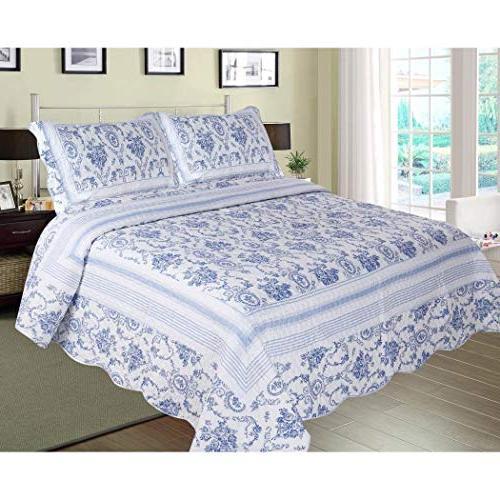 blue white king quilt set