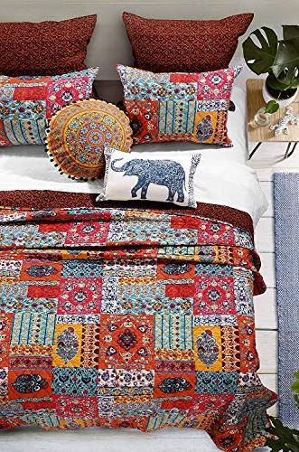 Finely Stitched Bohemian Bedding Boho Chic Comforter Hippie Bedspread Lightweight Washable Piece Full/Queen Blue Red - Includes Straps