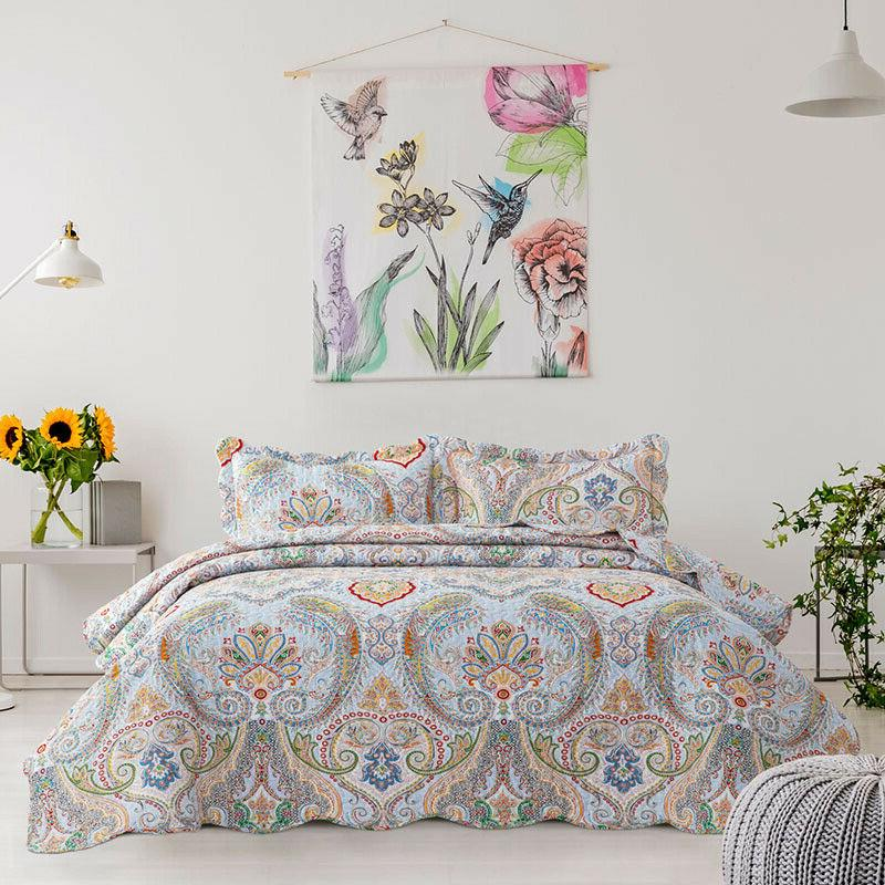Bohemian Pattern Quilt Coverlet Twin Queen