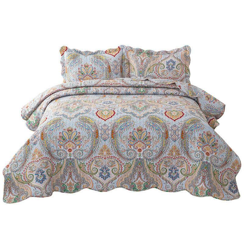 Bohemian Paisley Pattern Quilt Coverlet set Bedspread Twin
