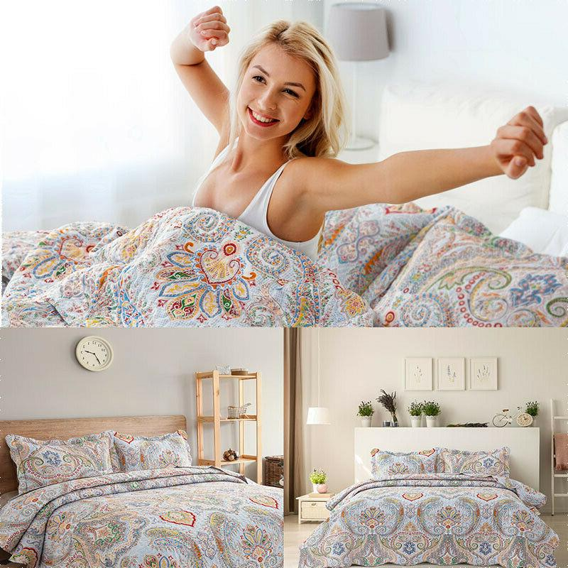 bohemian paisley pattern quilt coverlet set quilted