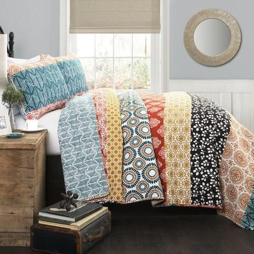 3 Bohemian Queen, Floral Stripes Pattern Shabby Design Teen Kids Bedding For Polyester