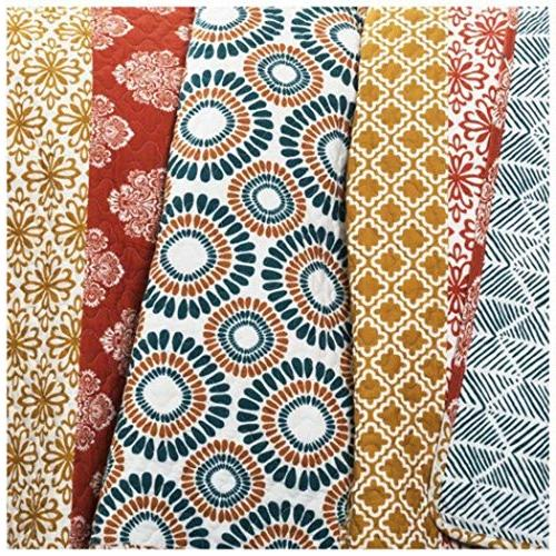 3 Piece Color Bohemian Quilt Set Queen, Floral Pattern Chic Design Teen Kids Bedding For Bedroom, Polyester
