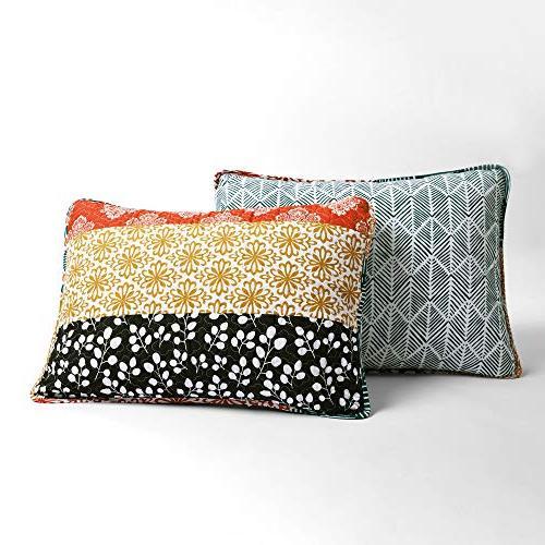 Lush Decor Bohemian Quilt Reversible Colorful Design Set Full