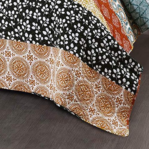 Lush Decor Quilt Reversible 3 Colorful Design Set