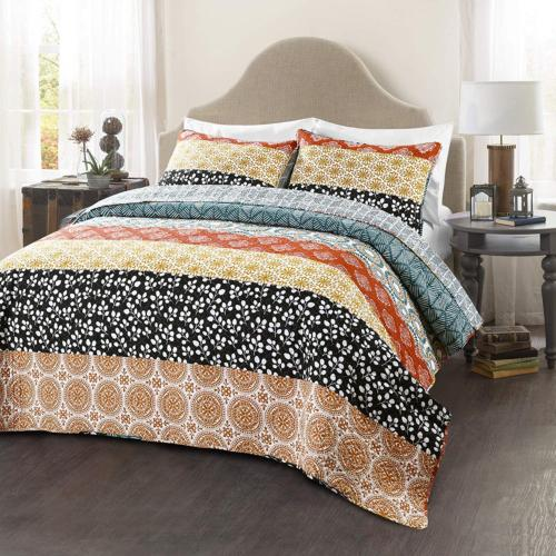 Lush Decor Bohemian Quilt Reversible Piece Bedding King