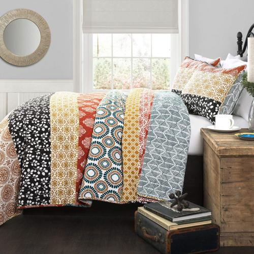 bohemian striped quilt reversible 3 piece bedding
