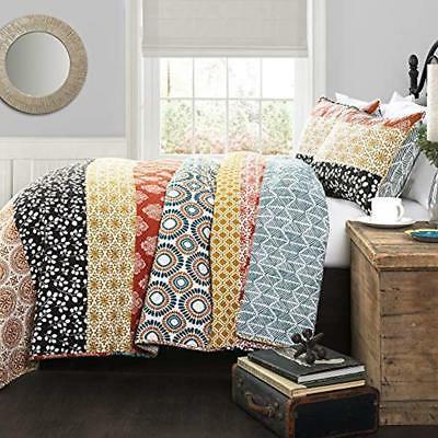 bohemian striped quilt reversible 3 piece bedding