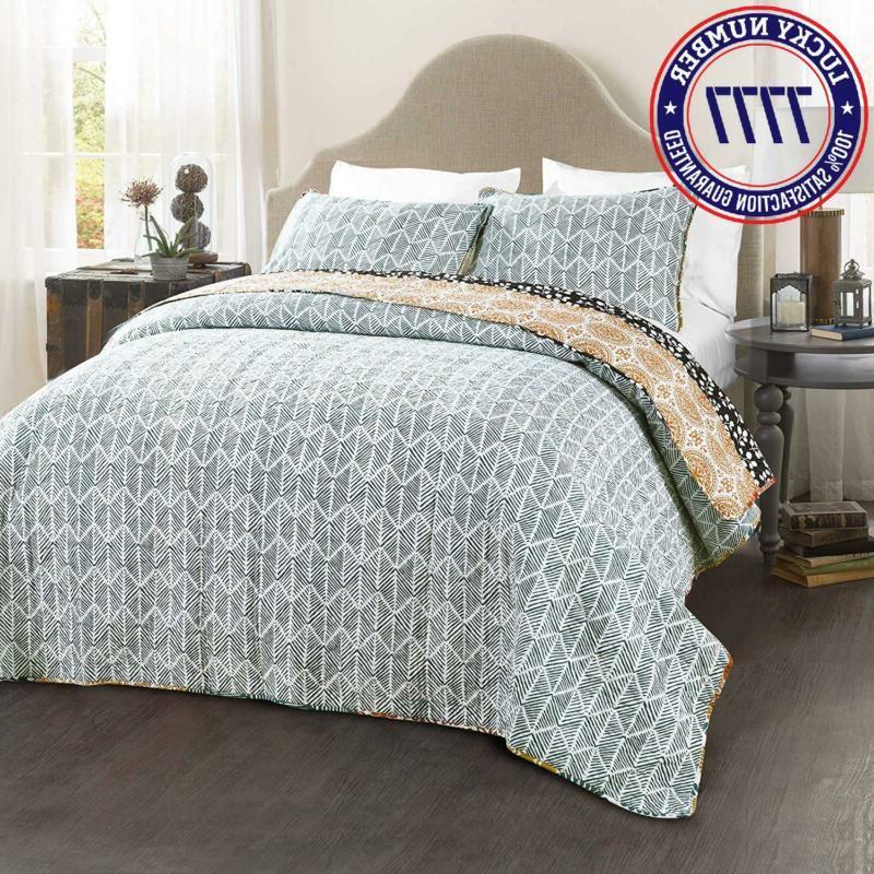 Lush Decor Bohemian Striped Quilt Colorful Design