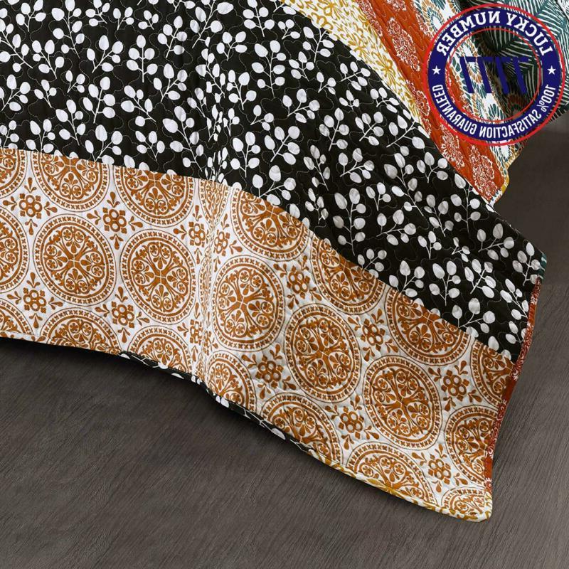Lush Decor Striped Quilt Reversible Piece Colorful Boho