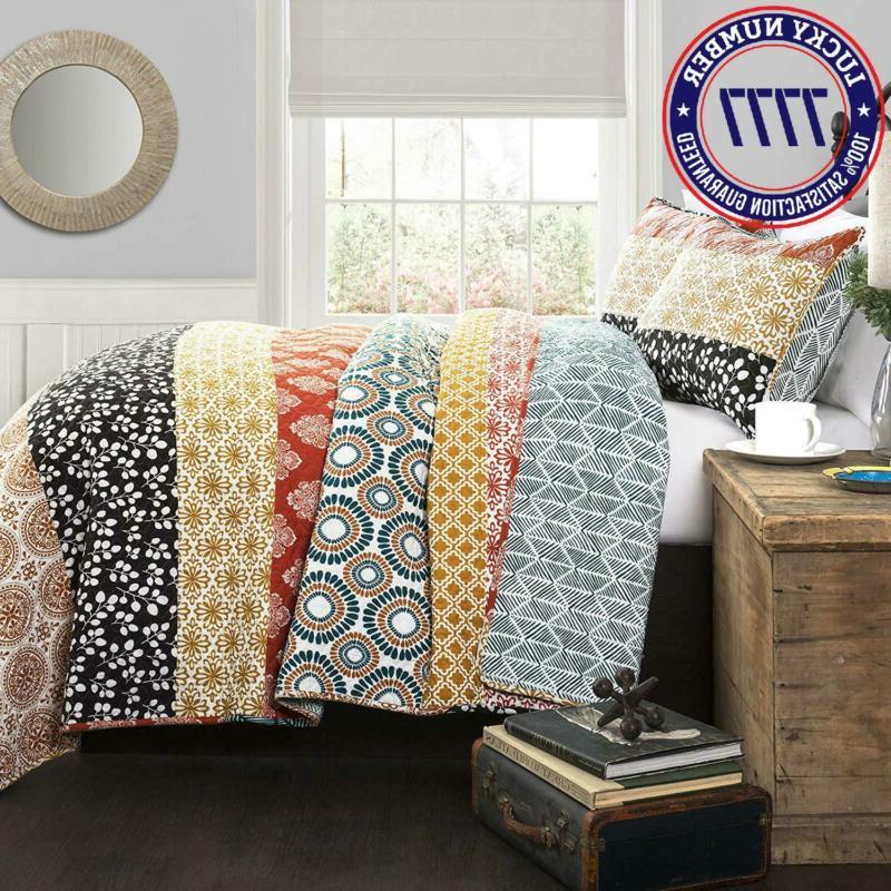 Lush Decor Bohemian Quilt Reversible 3 Piece Colorful Beddin