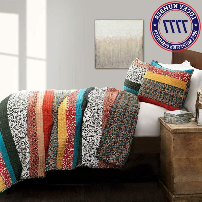 Lush Boho Quilt 3 Bohemian Bedding Set Full