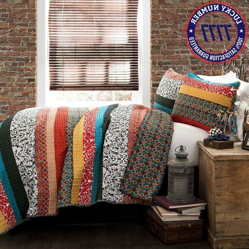 Lush Decor Quilt Reversible 3 Bohemian Design Bedding Set Full