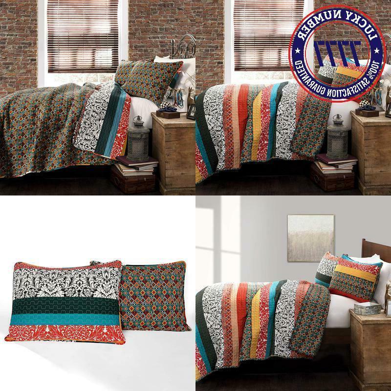 boho stripe quilt reversible 3 piece bohemian