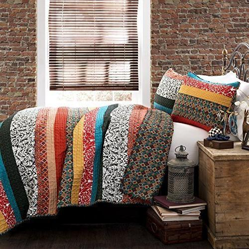 boho stripe quilt set