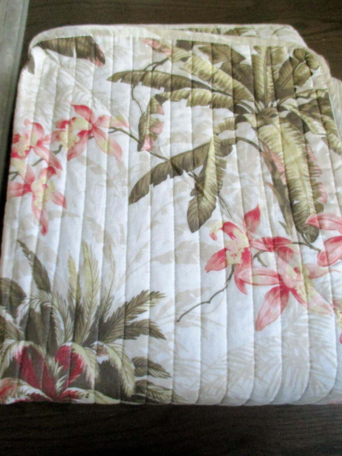 TOMMY Coral, Green Tropical Floral / 3pc KING Quilt SET