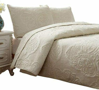 Brandream White Beige Vintage Floral Comforter Set Queen Siz