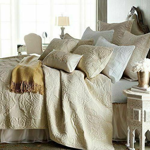 Brandream Beige Vintage Floral Comforter Size Bed Quilt Set