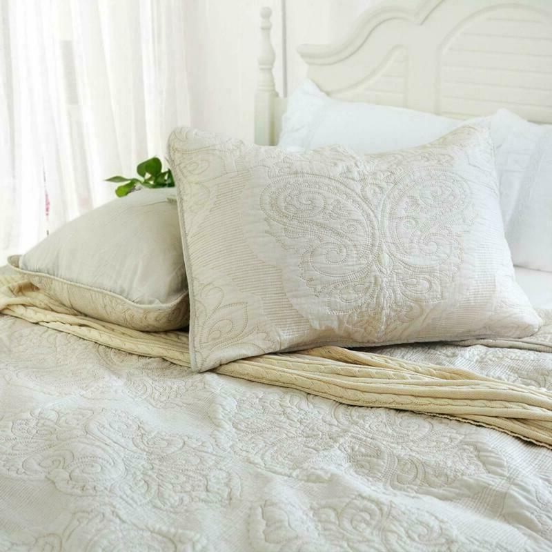 Brandream White Floral Size Bed Set