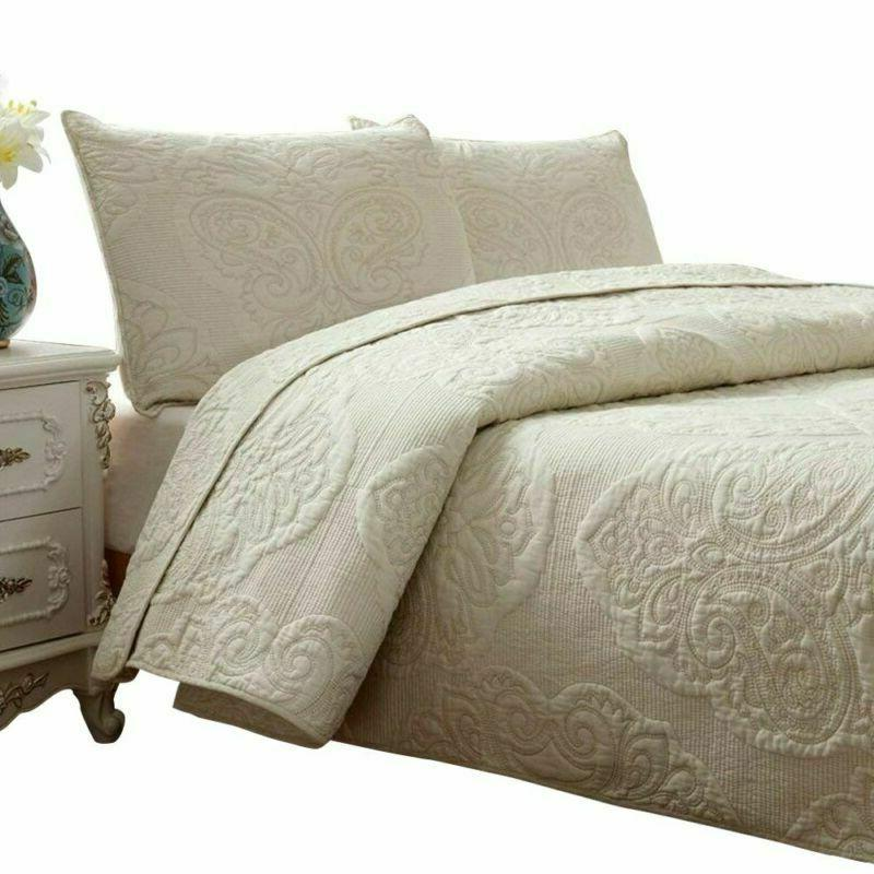 brandream white beige vintage floral comforter set