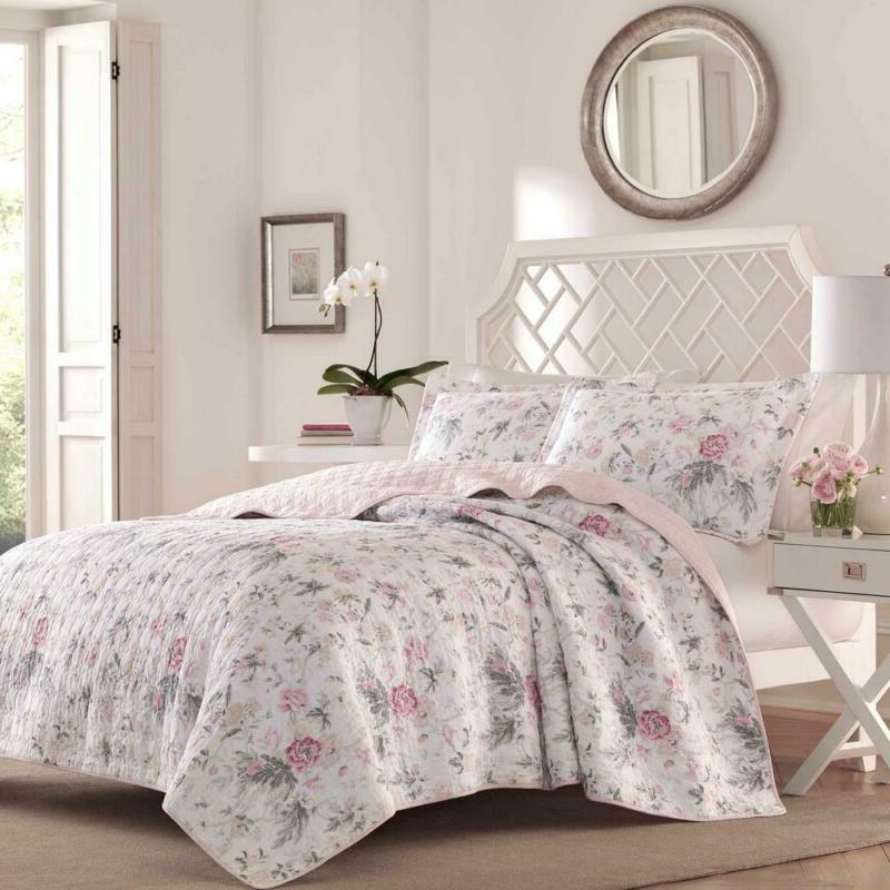Breezy 3-Piece Pink/Grey Quilt Set, Floral Cotton, Wrinkle a