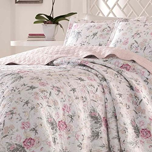 Laura Pink Quilt Set, King, Pink/Gray