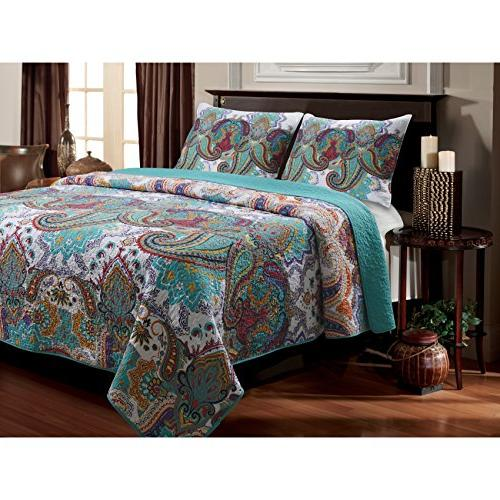 bright bohemian paisley patterned quilt