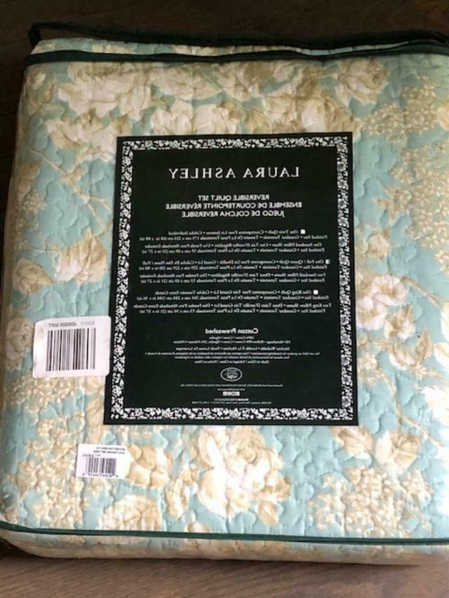 Laura Ashley Aqua Blue Full/Queen Quilt