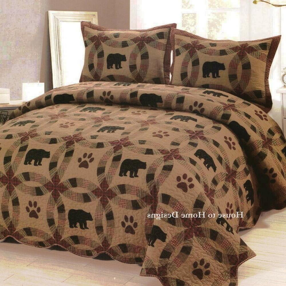 brown bear king quilt set